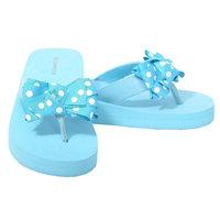 L'Amour Light Blue Dot Bow Wedge Flip Flops Sandals Little Girls 11-4