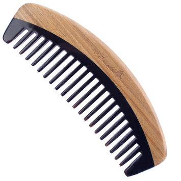 Breezelike Hair Comb - Wide Tooth Wooden Detangling Comb for Curly Hair - No Static Sandalwood Buffalo Horn Comb for Men, Women and Kids