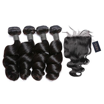 Oisk 4Pcs 7A Peruvian Virgin Hair With 1pc Top Lace Closure Brazilian Hair Products Loose Curly Wave Human Hair Bundles Remy Hair Weaving Extension (12