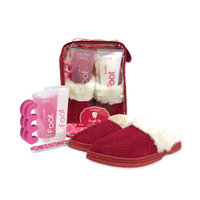 Spa Sister Snuggle Up Foot Spa Cable Knit Slippers, Red Guava Chiffon