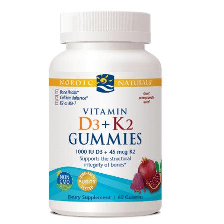 Vitamin D3 + K2 Gummies - Pomegranate, 60 Gummies, Nordic Naturals