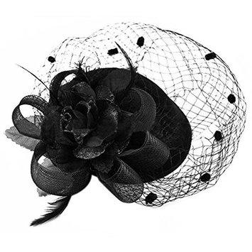 SODIAL(R) Hair Clip Headband Pillbox Hat Bowler Feather Flower Veil Wedding Party Hat black