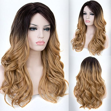 Persephone Ombre Blonde Wig Wavy Medium Length 2 Tones Honey Blonde Synthetic Wigs for Women Heat Resistant 18 Inches