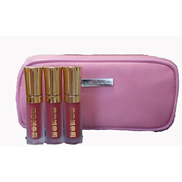 BareMinerals Buxom Mini Full-On Lip Cream 'Sangria' 2ml/0.07oz - Set of 3 & Pink Make-Up Bag