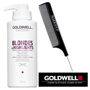 Goldwell Dualsenses BLONDES AND HIGHLIGHTS 60Sec Treatment, Masque 60 Seconds (with Steel Pin Tail Comb) (16.9 oz / 500 ml PRO size)
