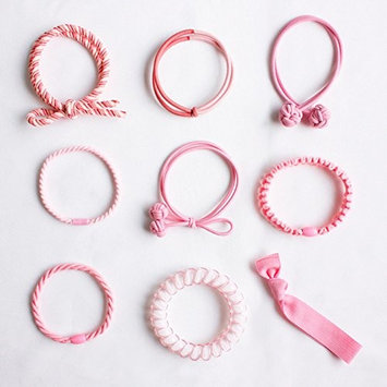 JJMG New Hair Ties Set Seamless Elastic Tie Bands No Metal Ponytail Holder No Crease Ouchless Ribbon Rope Telephone Cord for Girls Toddlers Kids Ladies (9...