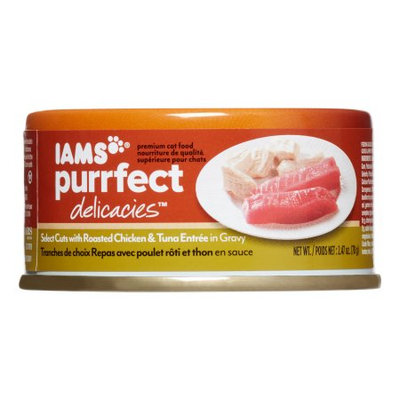 Iams Purrfect Delicacies Select Cuts with Roasted Chicken & Tuna Entrée in Gravy Wet Cat Food, 2.5 Oz (Case of 24)