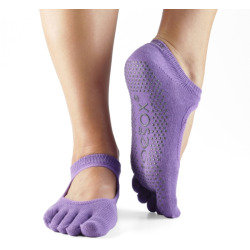 ToeSox Bella Full Toe Grip Ankle Socks--Light Purple,Women's 8.5-10.5