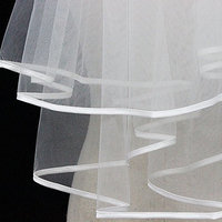 Kalttoyi Bridal Wedding Veils, Two Layers Tulle Ribbon Edge, Bridal Veils Accessories