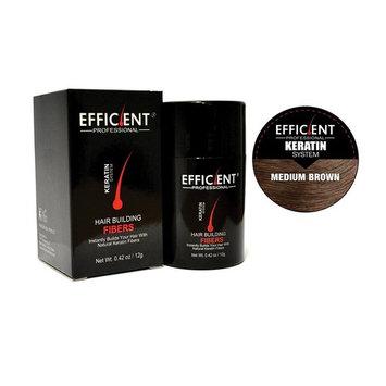 EFFICIENT Keratin Hair Building Fibers, Hair Loss Concealer, 12 g/0.42 oz, Medium Brown