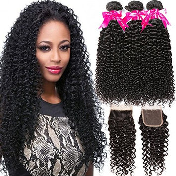 Flady Malaysian Curly Hair 3 Bundles with Closure 100% Virgin Curly Human Bundles with 4x4 Free Part Lace Closure (18 20 22+16)