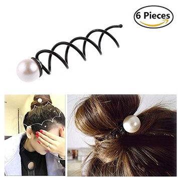 Pearl Spiral Spin Screw Pin, 6 PCS Bobby Pin, DIY Style Hair Clips Lady Twist Barrette Accessory