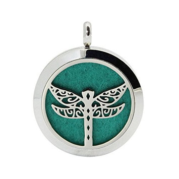 Aromatherapy Jewelry Dragonfly Hollow Filigree necklace Silver Plated Stainless Steel Essential Oils Diffuser Pendant 10 Felt Pads