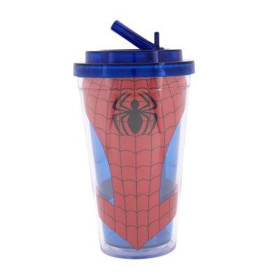 Silver Buffalo, Llc Spider-Man Uniform 16oz Plastic Flip Straw Cold Cup