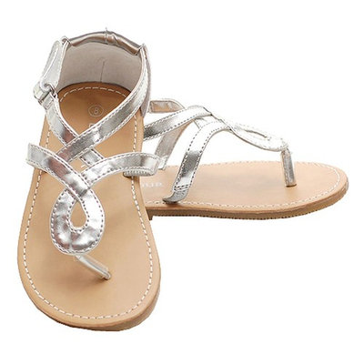 Silver Loop Strap Spring Sandals Shoes Toddler Little Girls 7-4