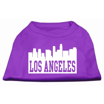 Mirage Pet Products 5170 LGPR Los Angeles Skyline Screen Print Shirt Purple Lg 14