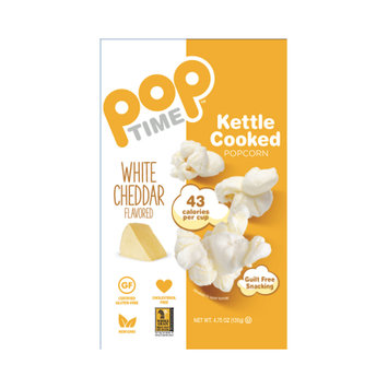 Ziggy Snack Foods POPTime Kettle Cooked Popcorn, White Cheddar, 4.75 Oz
