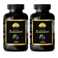 Memory health - PURE RESVERATROL SUPPLEMENT 1200 mg - Resveratrol healthy cell support - 2 Bottles 120 Capsules