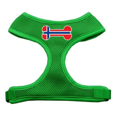 Mirage Pet Products Bone Flag Norway Screen Print Soft Mesh Dog Harnesses, Medium, Emerald Green