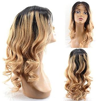 AllHairz Ombre Honey Blonde 360 Lace Frontal Wigs Body Wave #1B/27 Brazilian Remy Virgin Hair Pre Plucked 360 Full Lace Frontal Wig 150% Density Gloden Blonde