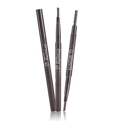 Frcolor 2 in 1 Waterproof Eyebrow Pencil Brush Set Automatic Eye Brow Long Lasting Makeup (Black)