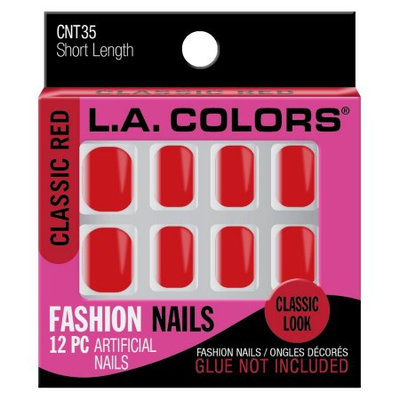 LA Colors Fashion Nail Tips, Short Length, Classic Red, 12 Ct