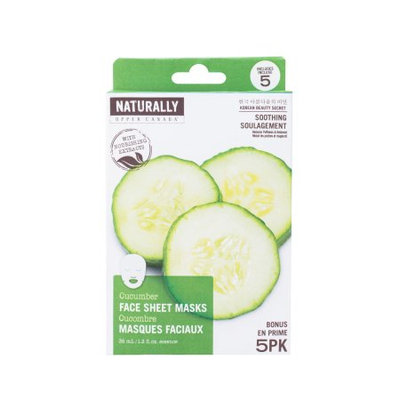 Naturally Sheet Mask, Cucumber, 5 Ct