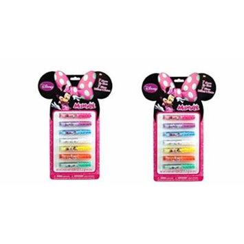 Minnie Mouse 7pk lip Gloss on Ear Shaped Card x 2 Set
