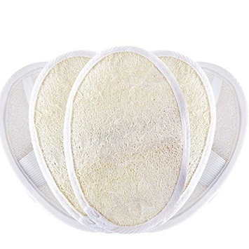 Cubaco 5 Pack Exfoliating Loofah Pads Natural Luffa and Terry Cloth Materials Loofa Sponge Scrubber Brush Close Skin For Men and Women When Bath Spa and Shower, White
