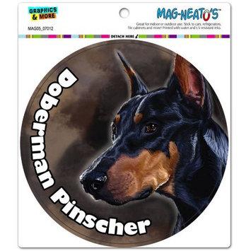 Graphics And More Black Doberman Pinscher Dog Pet Circle Automotive Car Refrigerator Locker Vinyl Magnet