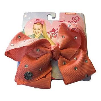 JoJo Siwa Coral Pink Signature Hair Barrette Bow with Clear Rhinestones