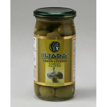 Iliada Green Olives with Garlic 13.05 ounce (Pack of 12)