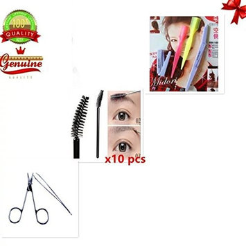 EYX Formula Eyebrow Trimmer Shaper Razor for Grooming with Brown Comb,Sale with Pack of 10 pcs Mascara Wand and Tweezer Scissior set for Detail Nose Hair
