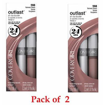 CoverGirl Outlast All Day Two Step Lipcolor, Forever Fawn 598 (2 Pack)