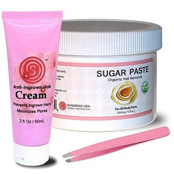 Sugar Paste Organic Body Waxing Kit with Anti Bump Cream with Apple Vinegar & Sugaring NYC Tweezer
