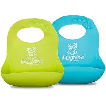 PandaEar Cute Silicone Baby Bibs for Babies & Toddlers (10-72 Months) Waterproof, Soft, Unisex, Non Messy - Turquoise/Lime Green
