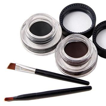 Waterproof Gel Eyeliner-Long Lasting-2pcs/Set Black and Brown with 2 Eye Liner Brushes