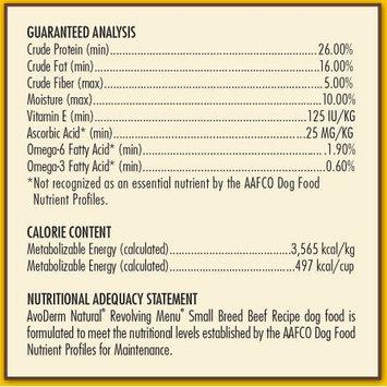 Avoderm Revolving Menu Small Breed LID Grain Free Beef Recipe Adult Dry Dog Food