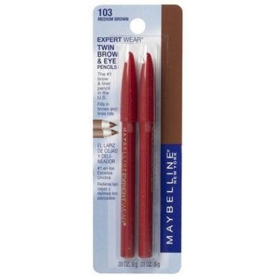 Maybelline Expert Eyes Twin Brow & Eye Pencils, Medium Brown (Quantity of 5)