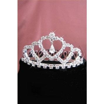Flower Girl Tiara Comb Silver Swarovski Rhinestone Elements Heart Design