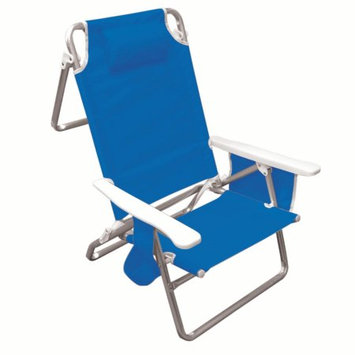 Chaby Intl Hawaiian Tropic 5 Position folding beach chair with carrying strap, pocket organizer, head rest pillow, cup holder