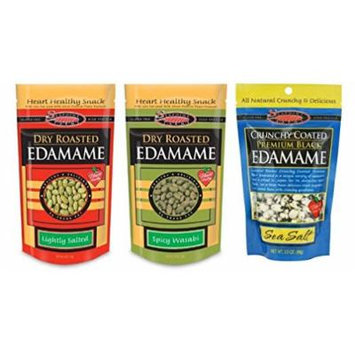 Seapoint Farms All Natural Gluten Free Dried Edamame Snack 3 Flavor 6 Bag Variety Bundle: (2) Seapoint Farms Dry Roasted Lightly Salted Edamame Snacks, (2) Seapoint Farms Dry Roasted Wasabi Edamame Snacks, and (2) Seapoint Farms Crunchy Coated Premium...