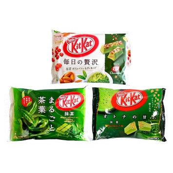 Kit Kat Matcha Green Tea Trio Pack 3 Flavors (Original, Whole Tea Leaf, and Double Berry & Almond)