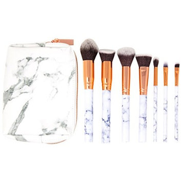 Makeup Brush Set - Zoë Ayla - Marble Effect 7 Piece Brush Set - Vegan Leather Pouch - Ergonomically Designed - Cruelty Free Synthetic Hair - Flawless Application - Antibacterial Hypoallergenic Bristle