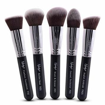 Nanshy 5 Piece Kabuki Makeup Brush Set - Face Application Contouring Blending Liquids Creams Mineral Powders - Onyx Black Kit