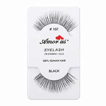 Amorus 100% Human Hair False Eyelashes Great Quality With Natural Look! Compare Red Cherry (12, 107)