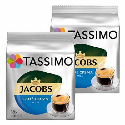 Tassimo Jacobs Caffè Crema Velvety & Mild, Rainforest Alliance Certified, Pack of 2, 2 x 16 T-Discs