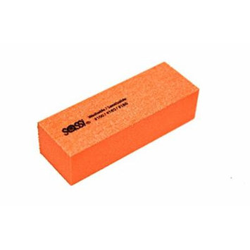 Sassi White/Orange 3 Way Emery Block 100/180/180 Grit - 50 pieces, Nail polishing block, nail buffer, quick shine, sanding file, nail art, shiner, buffer, buffing, manicure, pedicure