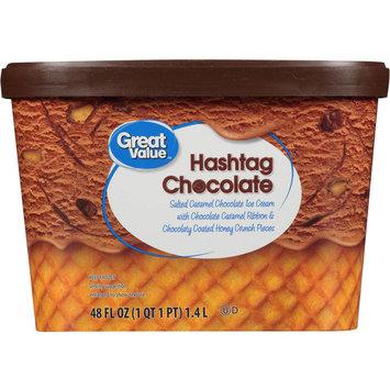 Great Value Hashtag Chocolate Ice Cream, 48 oz