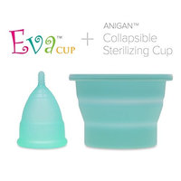 Anigan EvaCup Reusable Menstrual Cup and Collapsible Sterilizing Cup Set, Eco-Friendly, Large Rose
